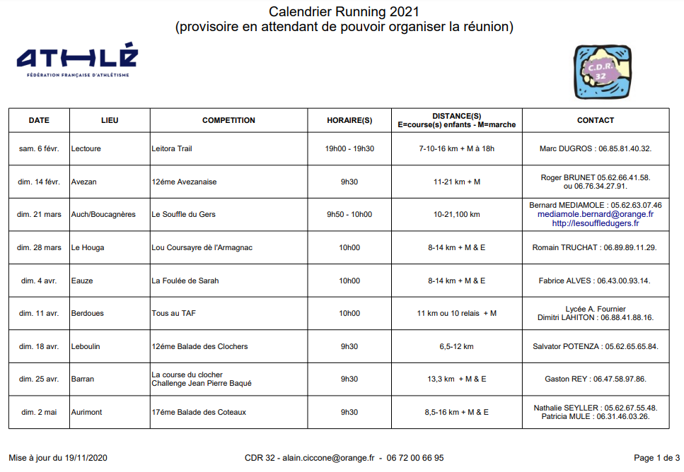 Calendrier CDR 2021